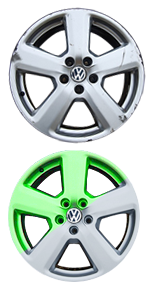 Before & after wheel refurbishment with colour change example